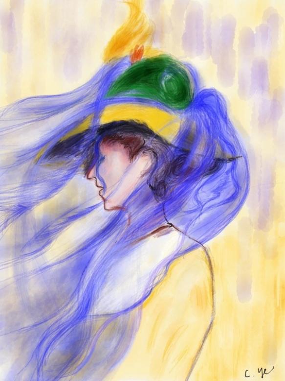 《蓝色面纱》by C.Ye (reproduction of Edmund Tarbell's The Blue Veil)