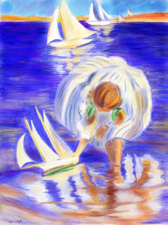 《女孩与小船》by C.Ye (reproduction of Edmund Tarbell's Girl with Sailboat)