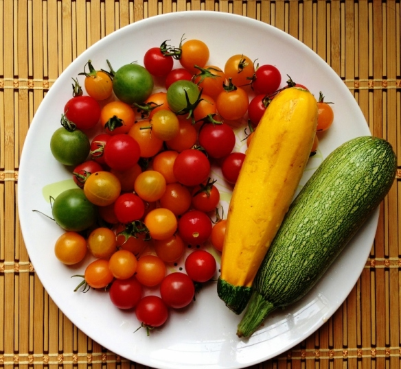 tomato and squash, fresh from the market